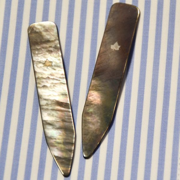 Kragenstäbchen aus Perlmutt (dunkel) - kragenstaebchen collar-stays aus dunklem perlmutt dark mother of pearl zwei